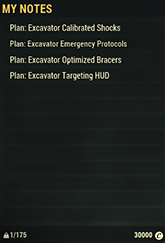 Excavator Mods Plan Set
