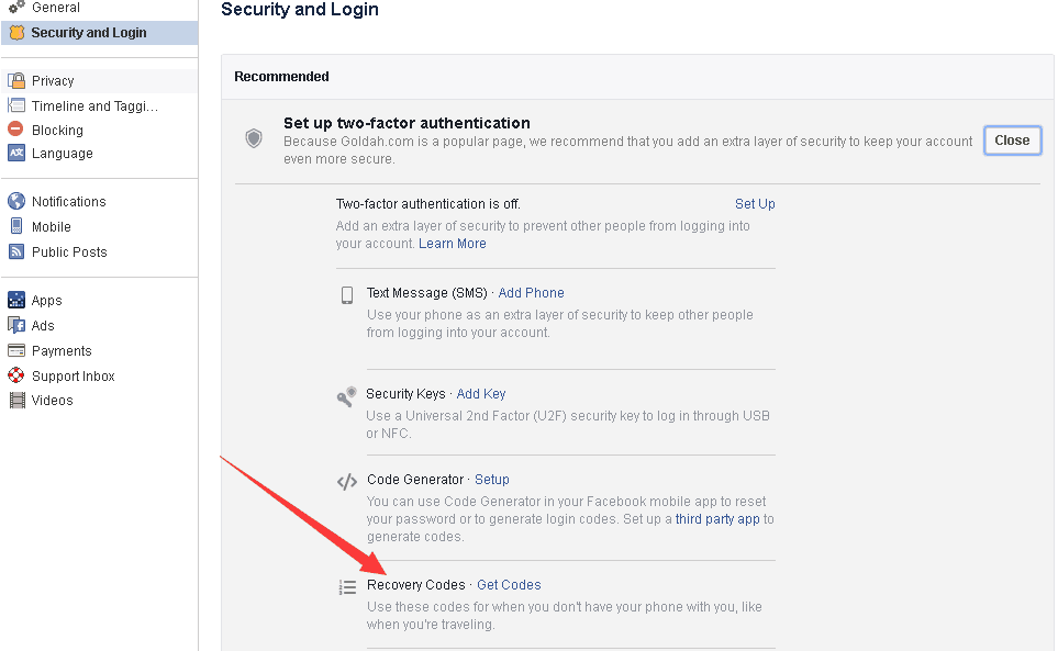 how to get facebook recovery codes