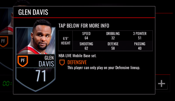 NBA LIVE MOBILE Interesting Data Part2-GLEN DAVIS