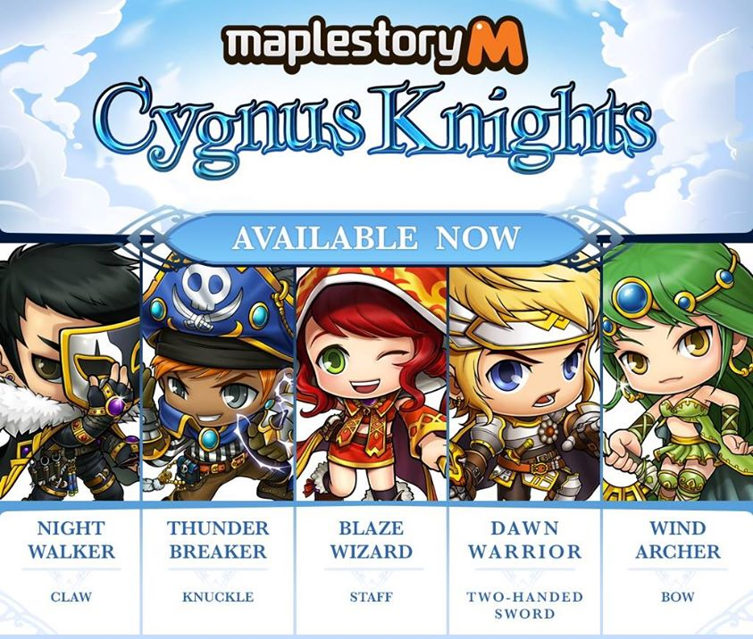 MapleStory M Cygnus Knights - Five Classes
